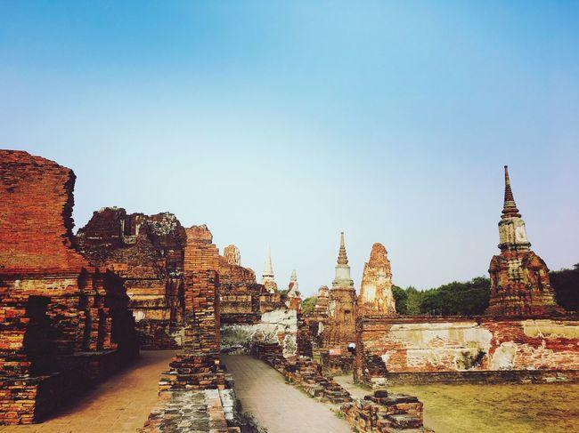 make merit Buddha Temple Old Buildings Ayutthaya