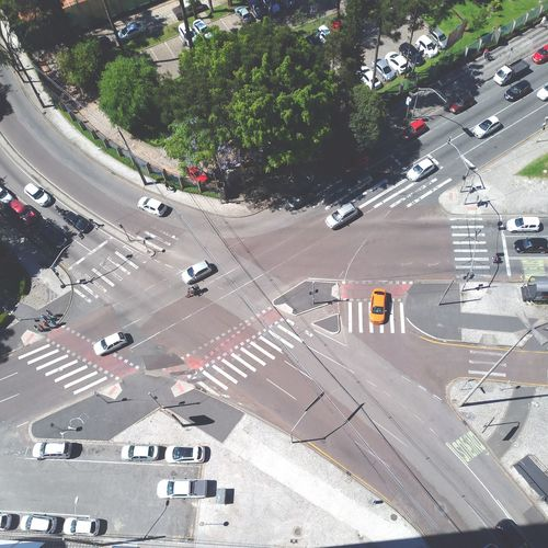 Aerial View Of Cars On Road In City