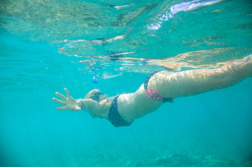 Female in apnea swims underwater with american flag bikini. Underwater background of a woman snorkeling and doing skin diving. Watersport activity in Hawaii. Tropical destination holiday concept. Woman snorkeling over coral reef in famous Hanauma Bay Nature Preserve, Oahu island, Hawaii, USA. Female snorkeler swims in tropical sea with american flag bikini. Watersport activity in Hawaii. Waikiki Beach United States America American Flag Hawaii Woman Hawaian Girl Beach Sea Blue Sky Bikini Sexygirl Honolulu  Honolulu, Hawaii Hanauma Bay Oahu Oahu, Hawaii Apnea Training Underwater underwater photography Diving Snorkeling Water