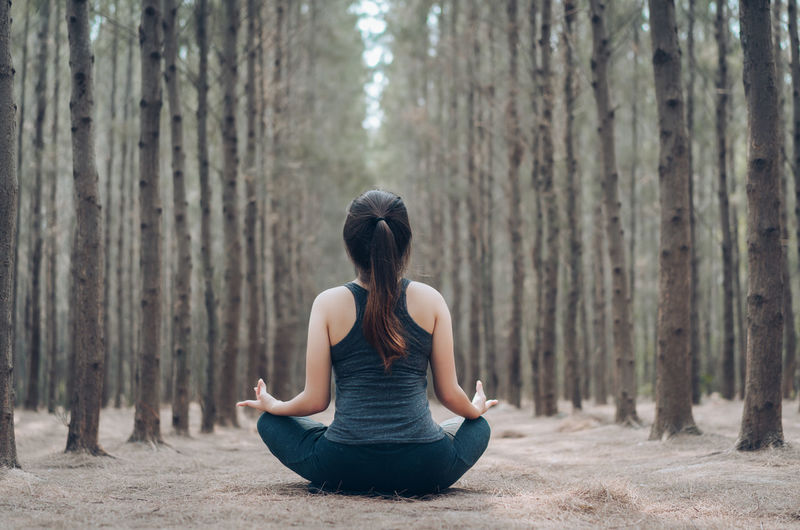 Rear view of woman practicing yoga in lotus position at forest