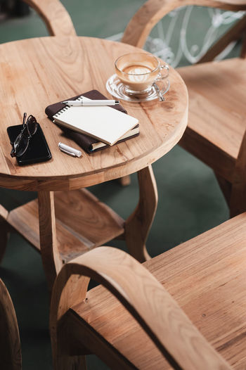 High angle view of drink on table at restaurant