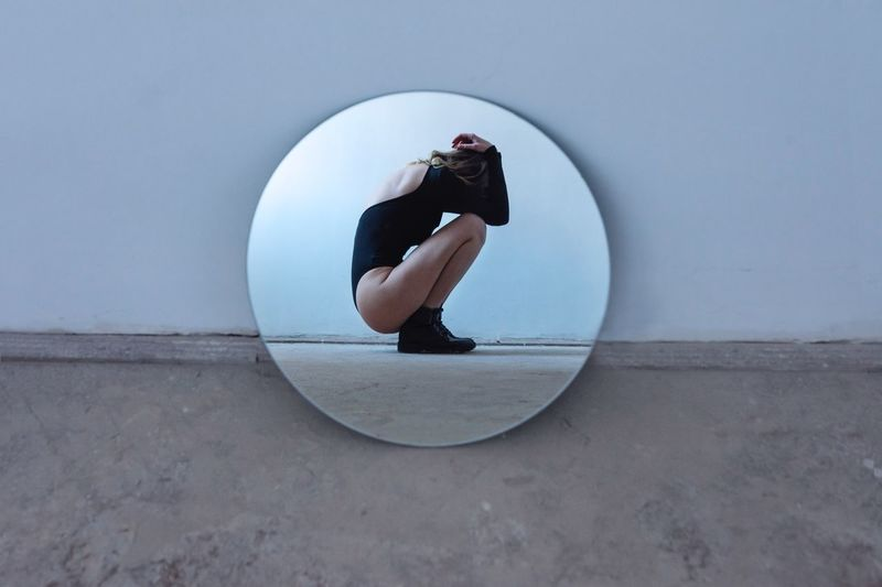 Back into the shell Eye4photography  Empty My Best Photo Mirror Women EyeEm Best Shots One Person Full Length Day Shape Circle Nature Leisure Activity Geometric Shape Reflection Real People Copy Space International Women's Day 2019
