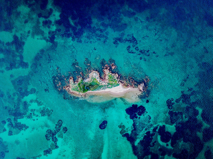 Drone picture of an island in sardegna