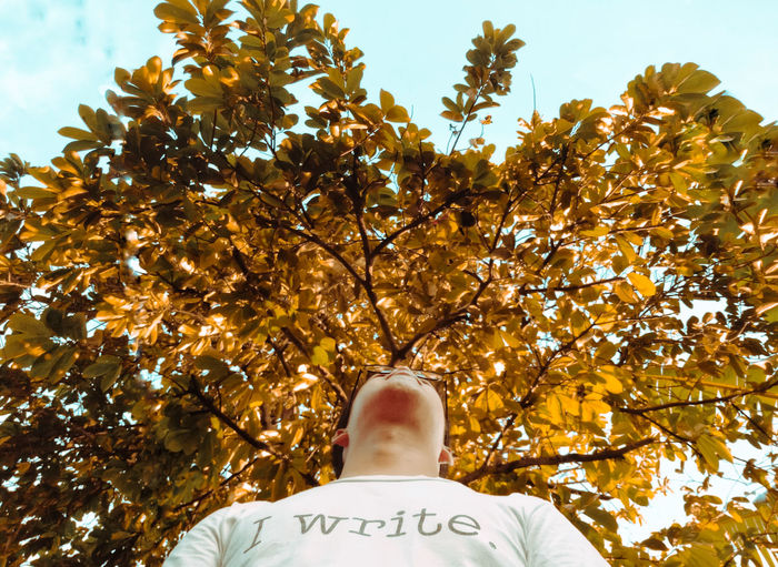 Low angle view of man with autumn leaves against sky