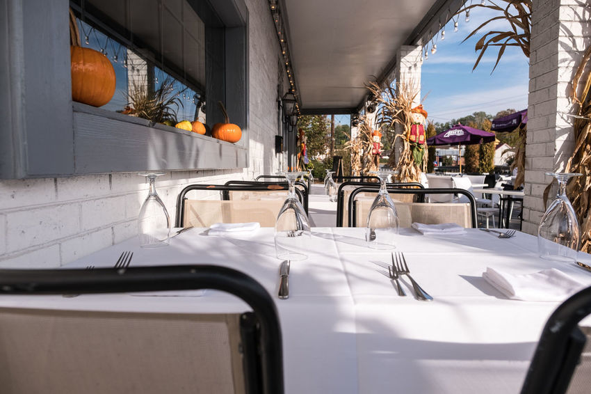 Outdoor Seating Architecture Day Drinking Glasses Fujifilm_xseries FujifilmX_US No People Outdoor Seating Outdoors Photographyisthemuse Restaurant Restaurant Scene Silverware  Table Cloth Table Setting