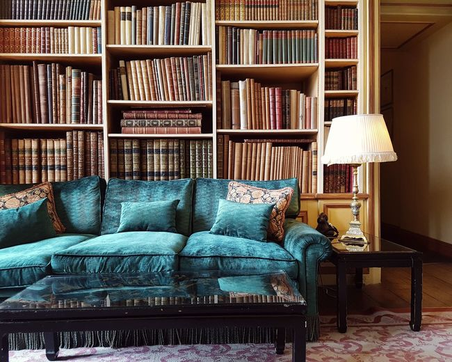 Home library. open book on bed at home