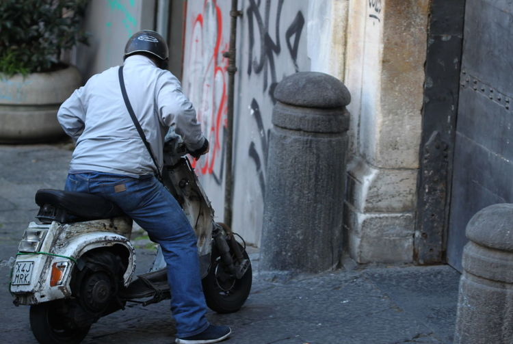City Day Helmet Italy Napoli October 2016 Old Scooter One Person Outdoors Street Writing On The Walls