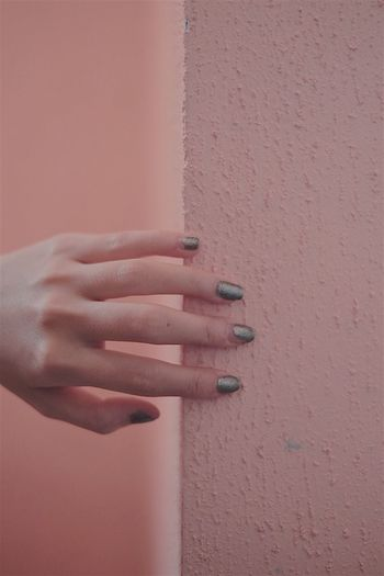 Human Hand Wall - Building Feature Human Finger One Person Human Body Part Real People Close-up Women Holding Lifestyles Nail Polish Day Outdoors Architecture Young Adult Adult People Tumblrgirl Tumblr Girl Tumblr Pinteresting Pink VisualArt