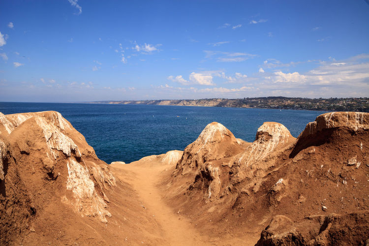 Hiking trails and benches above the coastal area of La Jolla Cove in Southern California in summer on a sunny day Coastline Landscape_Collection Beauty In Nature Blue Cliff Day Hiking Trail Horizon Over Water La Jolla La Jolla Cove Landscape Nature No People Ocean Outdoors Rock - Object Scenics Sea Sky Tranquil Scene Tranquility Water