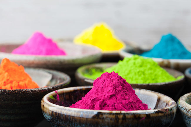 Colorful Holi powder in cups closeup. Shallow depth of field Holi Festival Close-up Colorful Day Flower Food Freshness Holi Holi Powder Indoors  Multi Colored No People Powder Paint Talcum Powder Variation