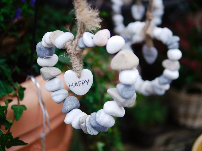 Close-up of love hanging on tree