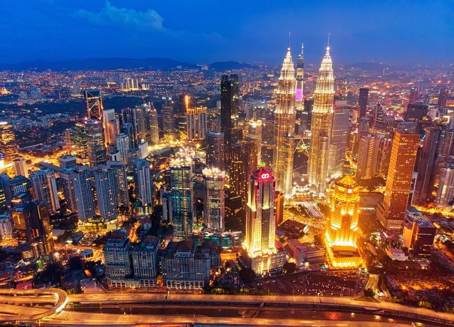 Kuala Lumpur city view at night Travel Outdoor Landscape Skyline Sunset View Travel Destinations Aerial View Aerial Photography Aerial Shot Dronephotography Beautiful EyeEm Selects Getty Images EyeEm Best Shots EyeEm Gallery Holiday Beauty City Cityscape Illuminated Urban Skyline Skyscraper Blue Sky Architecture Building Exterior Light Trail Long Exposure Vehicle Light
