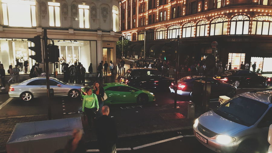 London Lifestyle Transportation Car Night Illuminated People Harrods London Outdoors Built Structure United Kingdom