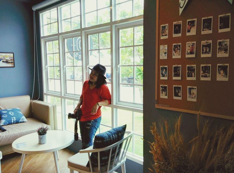 Coffee Shop Window One Person Table Indoors  Real People Day Domestic Life Young Adult Adults Only People Adult Women Around The World