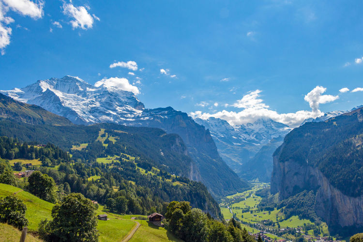 Alps Beauty In Nature Cloud - Sky Day Forest Landscape Lauterbrunnen Mountain Mountain Range Nature No People Outdoors Scenics Sky Swiss Alps Switzerland Tranquil Scene Tranquility Tree Wengen