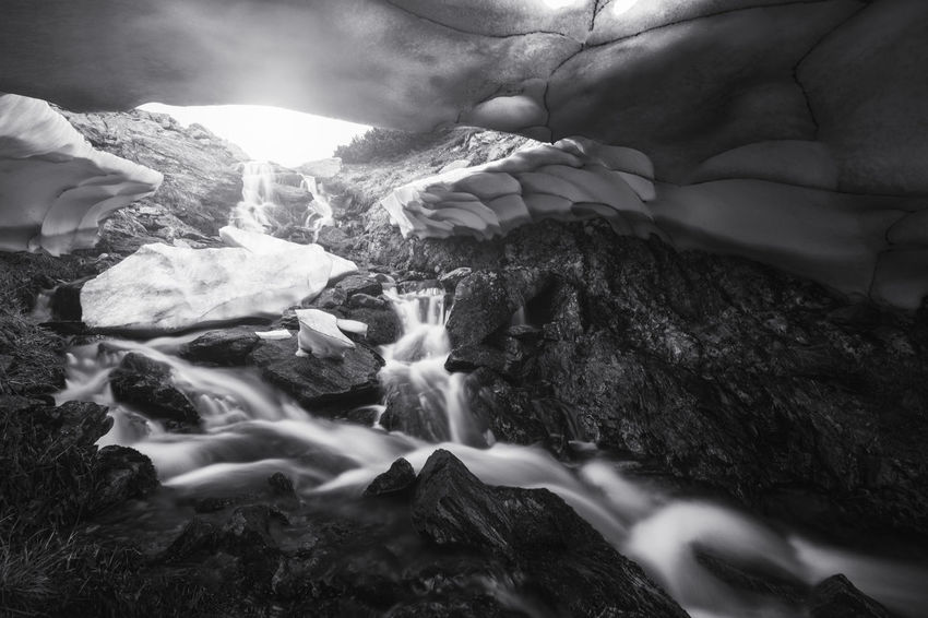 Landscape from Rodna National Park, Romania. Flow  Ice Sunlight Winter Beauty In Nature Black And White Cold Freshness Glacier Landscape Motion Mountain Nature No People Outdoors River Rock - Object Rocks Snow Spring Stream Texture Water White Black And White Friday