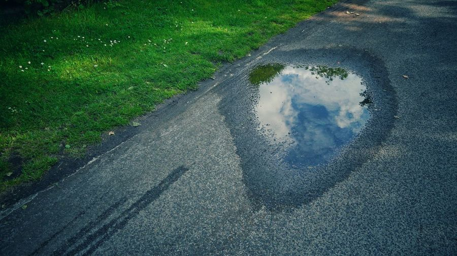 High angle view of puddle on road