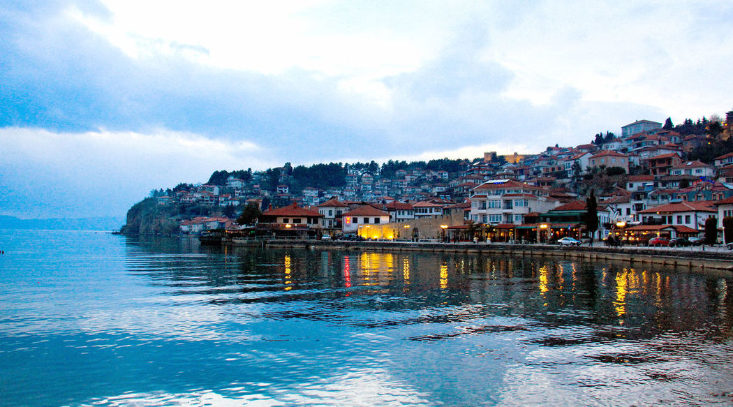 ohrid,macedonia Architecture Building Exterior Built Structure Chandeliers City Cityscape Cityscape Cloud - Sky Clouds Day Lights Macedonia Nautical Vessel No People Ohrid Ohrid Lake Ohrid Macedonia Reflection Sea Sky Sunset UNESCO World Heritage Site Water Waterfront