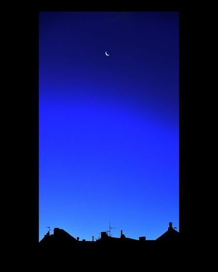 Open Window Moon Space Clear Sky Blue Silhouette Sky Architecture Crescent