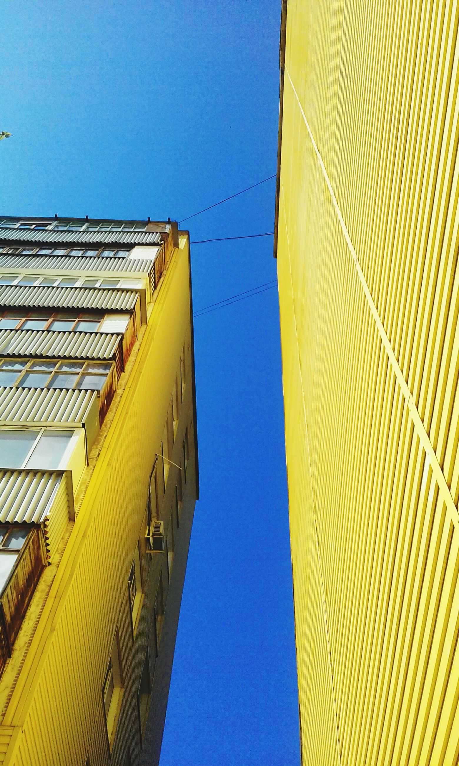 clear sky, architecture, low angle view, building exterior, built structure, blue, copy space, yellow, pattern, roof, building, outdoors, day, high section, no people, sunlight, part of, in a row, city, design