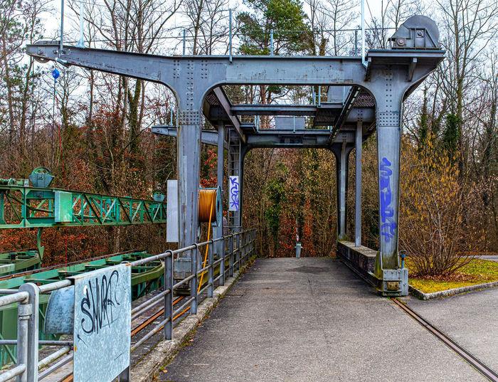 Footbridge over footpath in park