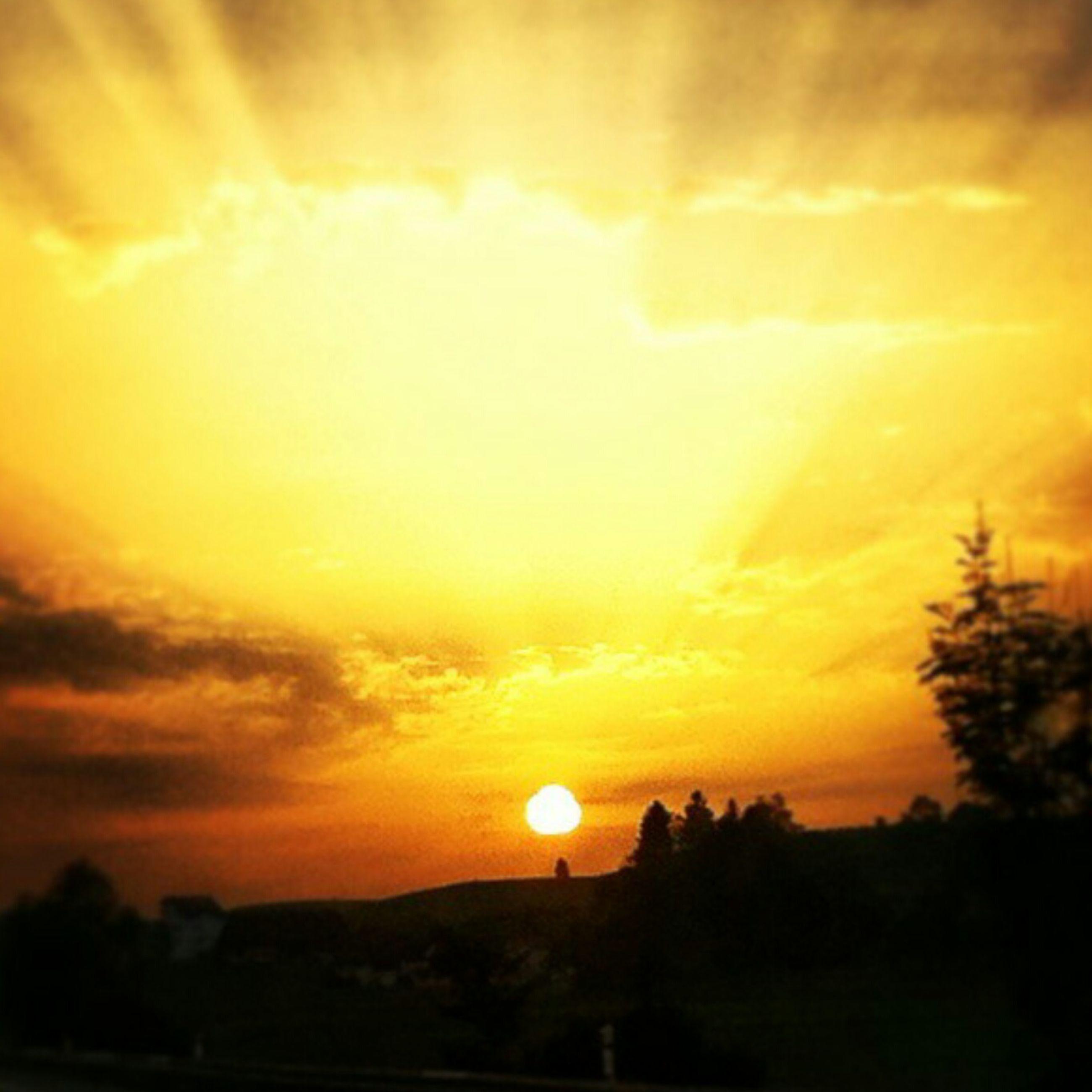 sunset, sun, orange color, scenics, beauty in nature, tranquil scene, sky, tranquility, silhouette, idyllic, nature, landscape, cloud - sky, sunlight, dramatic sky, sunbeam, majestic, cloud, outdoors, tree