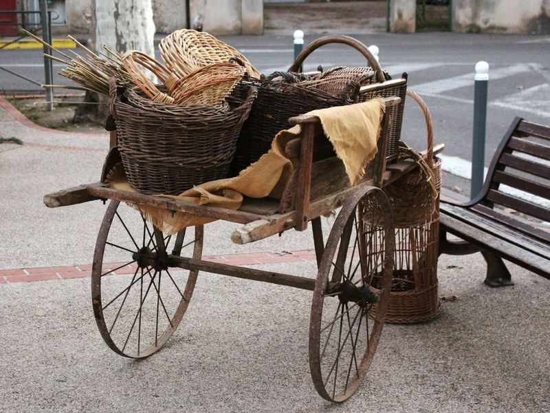 Charette Paniers Transportation Basket No People Mode Of Transport Outdoors Day