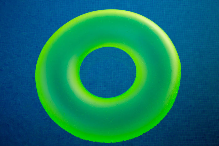 Letter O floating Blue Circle Close-up Day Directly Above Green Color Inflatable Buoy Letter Letter O No People O Outdoors Pool Summer