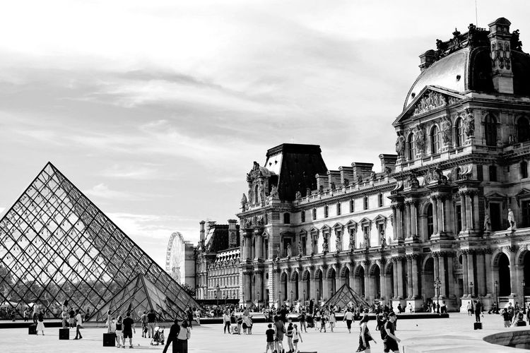 Musee du Louvre in summer. Paris, France. France France Streets France Trip лувр Louvre Louvre Museum Louvre Pyramid Louvre, France Louvremuseum Architecture Building Exterior Paris Paris, France  Built Structure First Eyeem Photo Bw Paris, France  Bw_collection Bw_lover Bw Photography Nocolor Blackandwhite Black & White Blackandwhite Photography