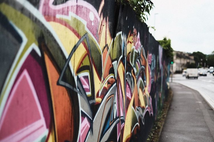 Multi Colored Graffiti Built Structure In A Row Day Building Exterior Architecture Outdoors No People Close-up