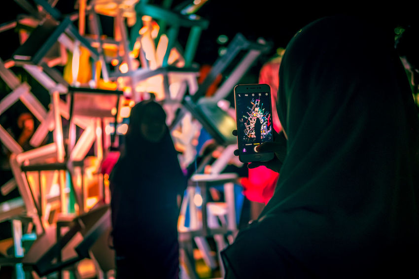 People taking pictures of the art installation at Festival Light And Motion Putrajaya (LAMPU) 2017, Putrajaya, Malaysia Art Installation Hijabers Light Light Festival Lightfestival2017 Lightshow Malaysia Truly Asia Muslim Woman Muslimah Taking Photos Taking Photos Of People Taking Photos Taking Pictures Art Festival Festival Of Lights Hijab Women Lights In The Dark Malaysia Malaysian People Malaysian Woman Night Putrajaya Taking Pictures Of People Taking Pictures Women Around The World