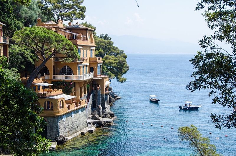 High angle view of building by sea against sky at portofino