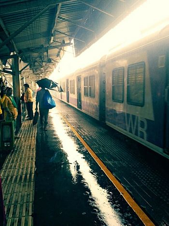 Train - Vehicle Railroad Station Platform Railroad Station Transportation Railroad Track Public Transportation Rail Transportation People Travel Arrival Station Rainy Day Rainy Days Mode Of Transport The Week On EyeEm EyeEmNewHere