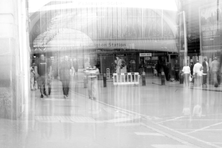 Photo 9 The concept: This series was based on my love for history. I researched a large number of train stations that where either bombed or used as shelters during The Blitz on London in WW2, and produced a shoot at each one. I used long exposures and (stupidly) used the 'monochrome' setting on my camera to produce the look of an old photo of each station the moment it was bombed. Adult Architecture Blackandwhite Blurred Motion Day London Long Exposure Men Motion People Photography In Motion Real People Station The Blitz Train War Water Women EyeEmNewHere Welcome To Black