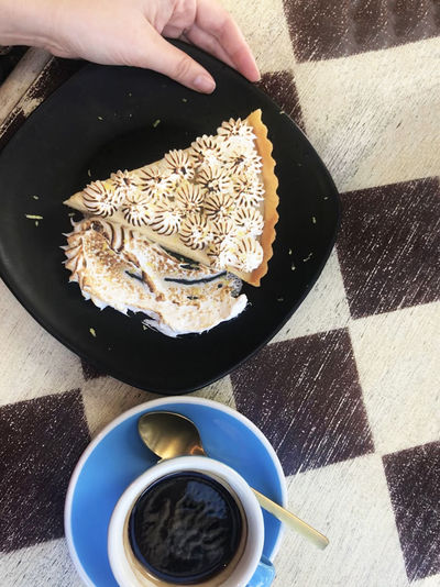 Coffee Key Lime Tart Lifestyle Cafe Checkerboard Directly Above First Person Perspective Hand High Angle View Holding Human Hand IPhone IPhoneography Keylimepie
