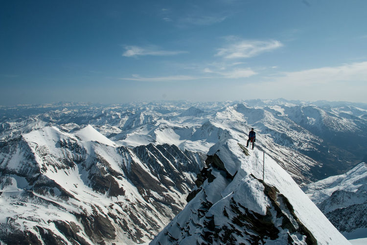 Adult Adults Only Adventure Beauty In Nature Cold Temperature Day Grossglockner Highest Peak Of Austria Landscape Mountain Mountain Range Mountaineering Nature One Man Only One Person Only Men Outdoors Peak People Ridge Sky Snow Snowcapped Mountain Steep Winter
