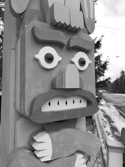 Try me.... Art WoodArt Blackandwhite Totem No People Day Close-up Outdoors