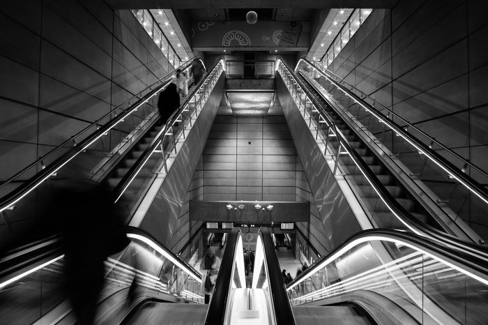 Black & White Blackandwhite Blurred Blurred Motion City Life City Life Copenhagen Copenhagen Metro Engineering Escalator Metal Metro Modern Perspective Public Transportation Speed Staircase Stairs Steps Steps And Staircases Subway The Way Forward Showcase: February