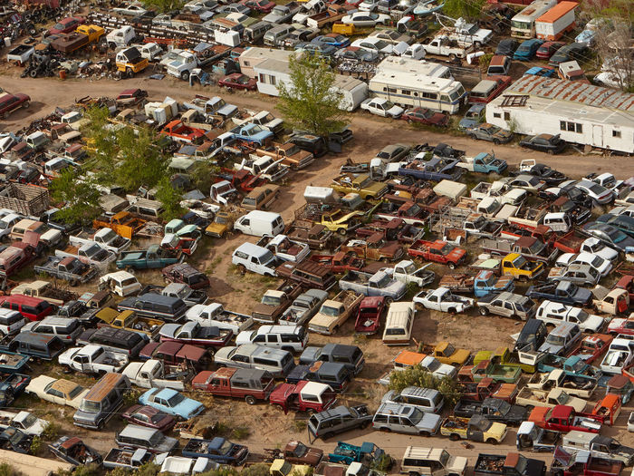 High angle view of cars at junkyard