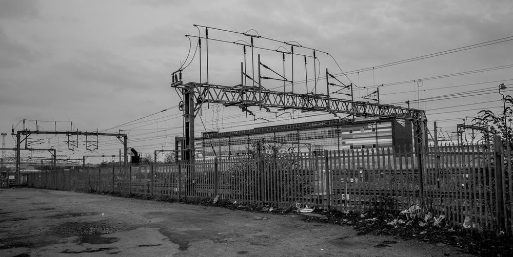 Overhead line equipment, Rugby Railway Station Warwickshire Rugby Rugbytown Black And White FUJIFILM X-T10 Monochrome Architecture Industrial Landscapes Railway Industrial
