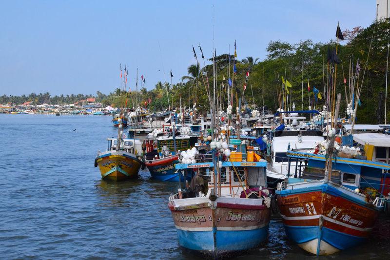 Boats on Negombo river Water Nautical Vessel Sea Harbor Beach Moored Summer Sky Marina
