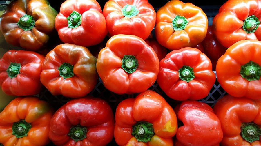 Full Frame Shot Of Red Bell Peppers At Market For Sale