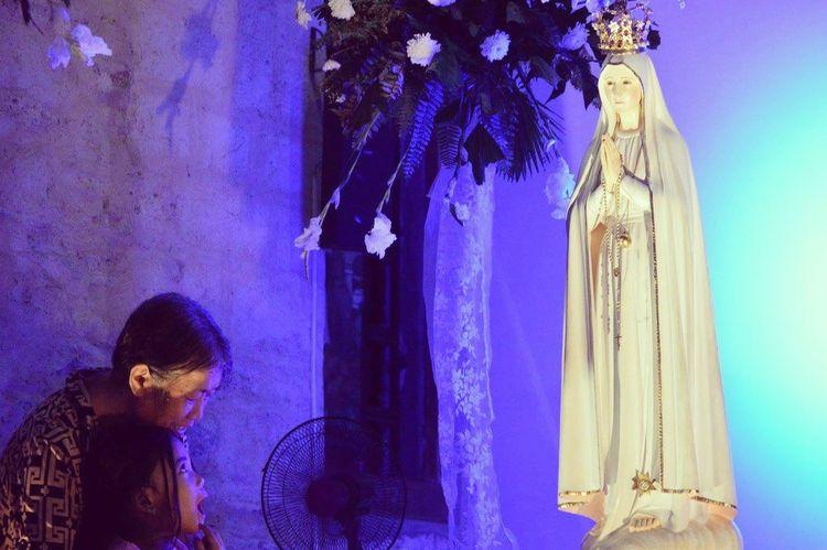 Pilgrim Image of Our Lady of Fatima Worship Christianity Prayer Illuminated Place Of Worship First Eyeem Photo Old God Grandmother And Grandchild Only Women