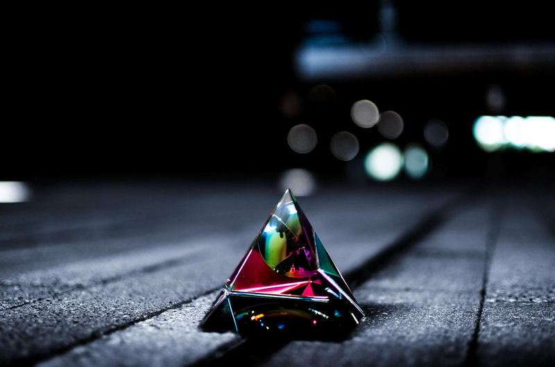 Close-up of prism on table