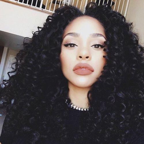 Natural Hair Curly Hair Selfie Matte Lipstick Aesthetics Gorgeous Model Fashion Long Hair Eyebrows On Fleek