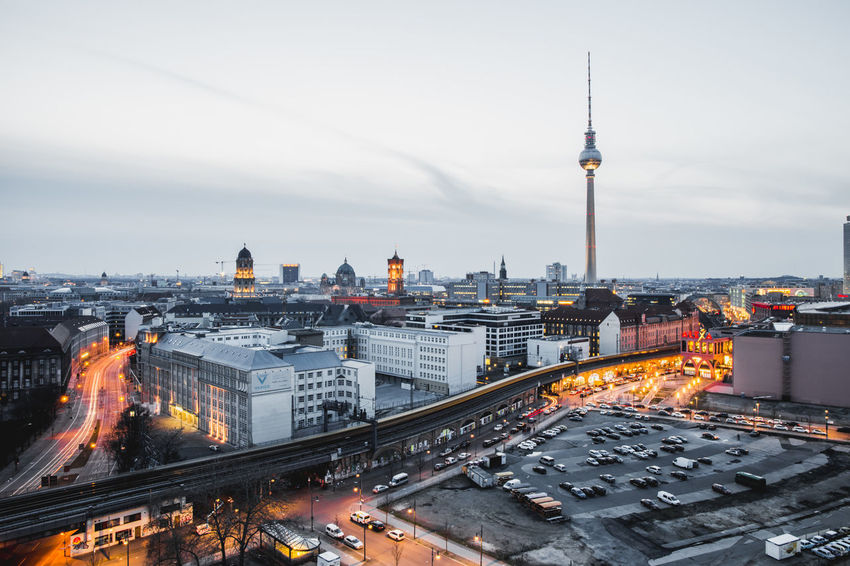 Berlin TV Tower Architecture Building Building Exterior Built Structure City Cityscape Crowd Dusk High Angle View Illuminated Modern Nature Office Building Exterior Outdoors Sky Skyscraper Spire  Tall - High Tourism Tower Travel Travel Destinations Tv Tower Berlin