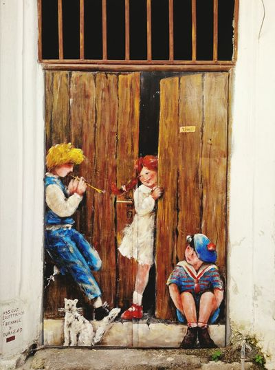 painting Artistic Expression Oil Colour Wall Art Downtown Happy Children Cat Wood Door