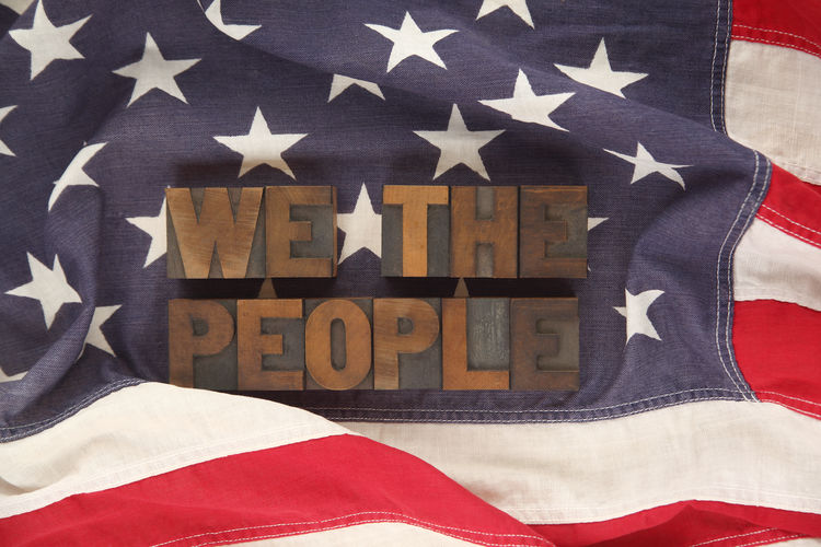 American flag with the words we the people American Flag Constitution Culture Flag Freedom Government Independence Day July 4th Letters Liberty Patriotism Preamble Red White And Blue Star Shape Stripes Pattern Type Typography United States USA Vintage We The People Wood Type Words