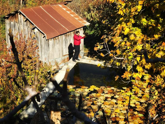 High angle view of man standing by pond during autumn