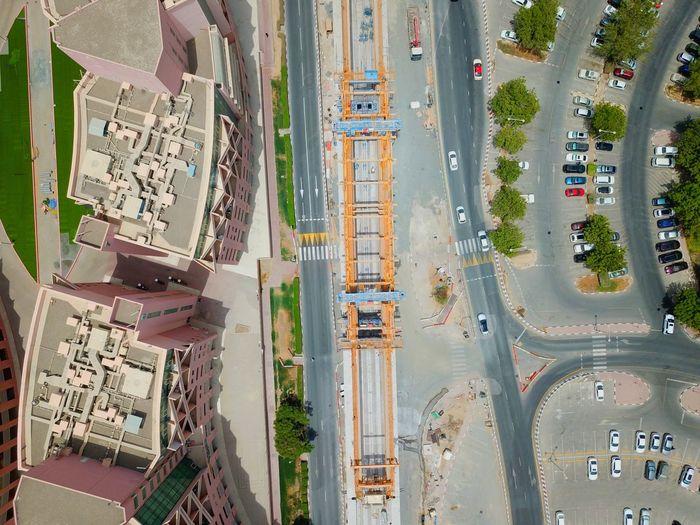 Aerial View Of Street By Buildings In City